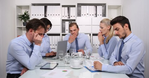 Overworked Team of Business Staff Concentration Issues Problem Conference Room
