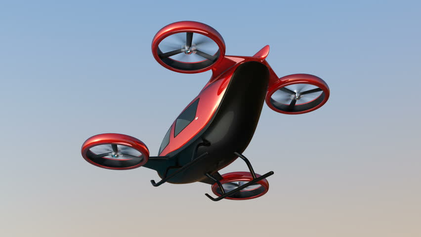 Metallic red self-driving passenger drone flying in the sky. 3D rendering animation.