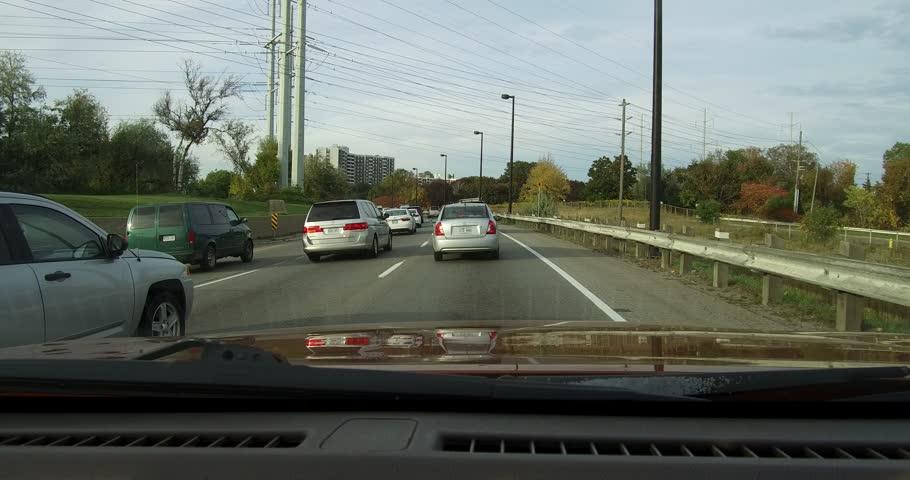 Toronto, Ontario, Canada October 2017 POV driving in Toronto highway traffic jam and gridlock #32103913