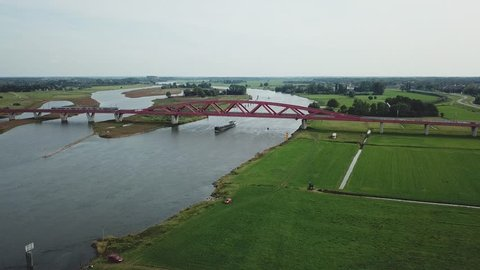 Aerial of big bridge in the Netherlands over the river ijssel near Zwolle