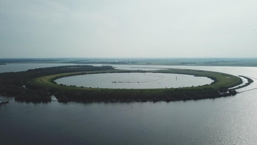 Aerial of the ijsseloog, an artificial island in the ketelmeer in the Netherlands