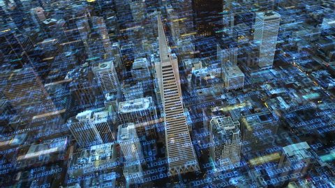 Big data over San Francisco aerial shot. Futuristic city where every building, home appliance, device and person is connected forming a computer network. Internet of things. Smart cities. Big data.