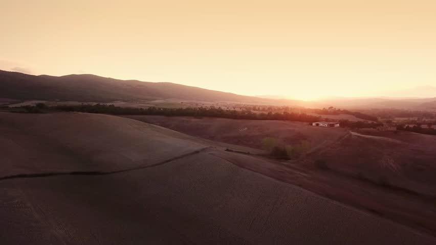 Aerial Flight Over Tuscany Fields #32120455