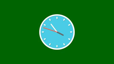 Animation Of Animated Clock Ticking showing four o'clock past 5 minutes Isolated in Green Screen Background