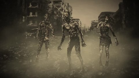 Three zombies go on the road in the middle of the destroyed city. Animation in the genre of horror. Infection zone. After nuclear war. Monochrome color.