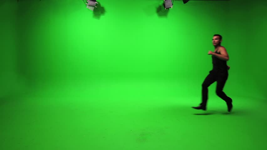 man running and stopping. green screen background. male person people. stop and go #3215965