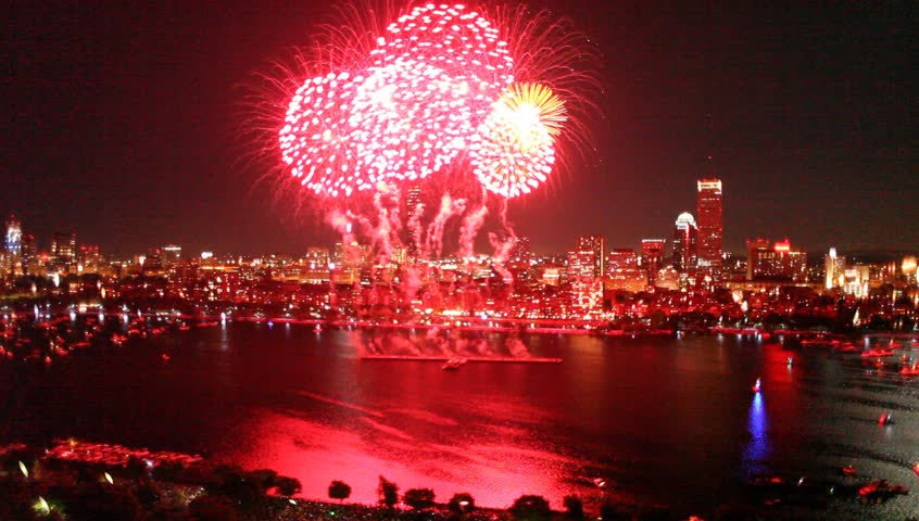 Aerial view of Boston's 4th of July fireworks display | Shutterstock HD Video #3216265