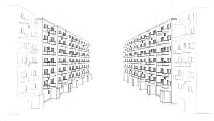 drawing of apartment block stock footage video | shutterstock