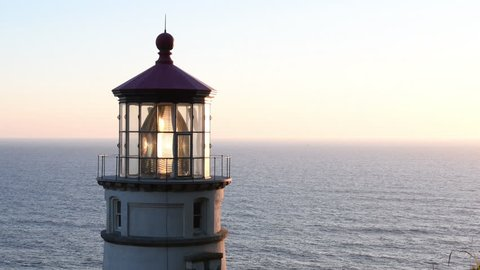Heceta Head Lighthouse Before Sunset Sets Over Pacific Ocean