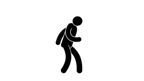 Joyful Pictogram man dances by steps. Loop animation with  included alpha channel.