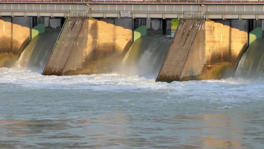 Spillway of the Passau-Ingling hydroelectric dam in Passau, Bayern, Germany | Shutterstock HD Video #32210545