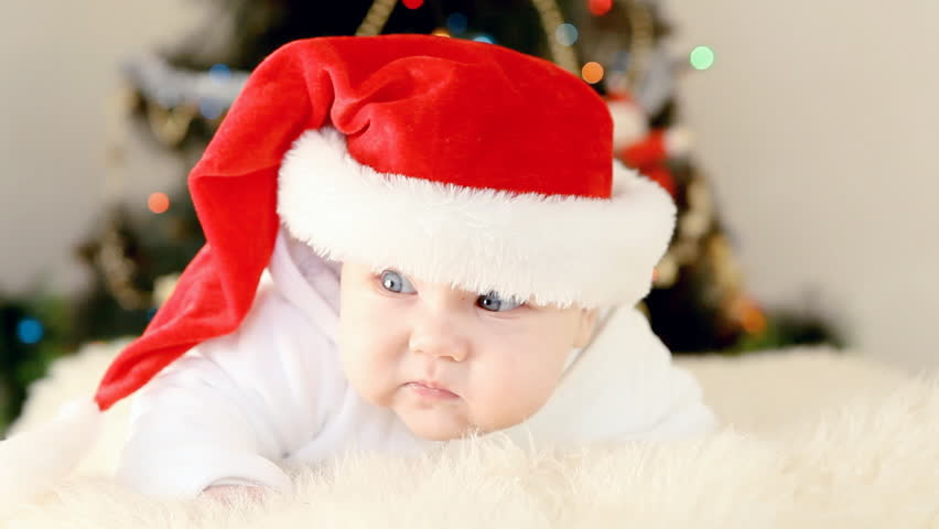 Christmas Baby Images Hd.Baby In Christmas Hat On Stock Footage Video 100 Royalty Free 3221515 Shutterstock