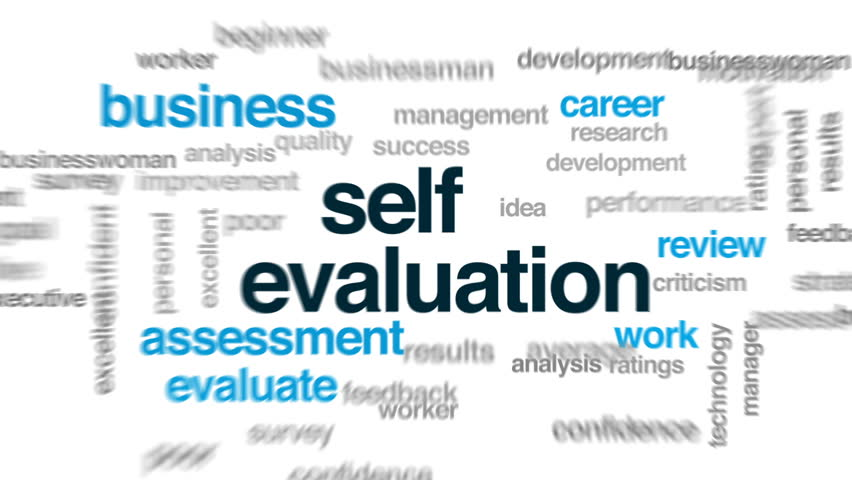Self Evaluation Animated Word Cloud Text Design Animation Stock