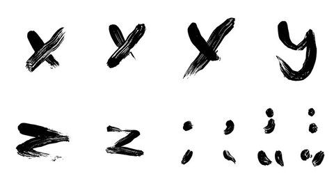 Hi-resolution, hand painted brush stroke alphabet letters X, Y & Z and punctuation with alpha channel. Follow us to get more characters from the collection. A must have for motion graphic designers.