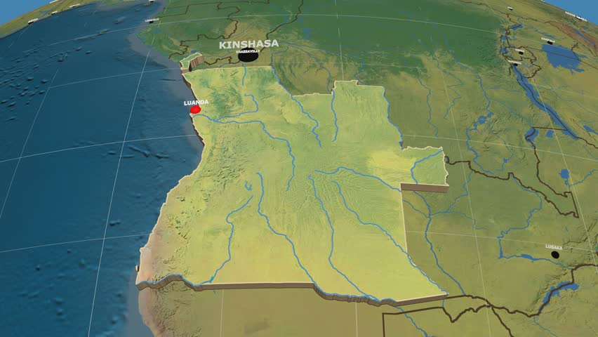Zoomin On Angola Outlined On The Globe Capitals Administrative