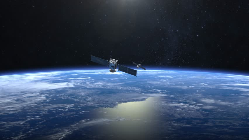 Two satellites scan and monitor the Earth. Satellites flying from camera far away quickly. The earth rotates slowly. 4K. | Shutterstock HD Video #32243425