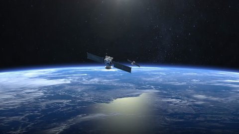 Two satellites scan and monitor the Earth. Satellites flying from camera far away quickly. The earth rotates slowly. 4K.