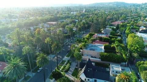 Beverly Hills City Streets / Aerial, drone shots / 09.09.2017