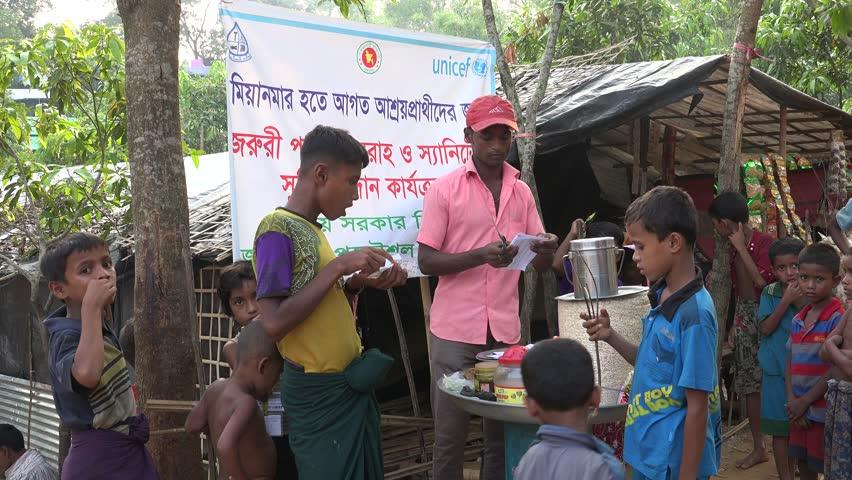 TEKNAF, BANGLADESH - OCTOBER 25, 2017: Medical and food emergency supplies are donated to the Rohingya Refugees in Bangladesh