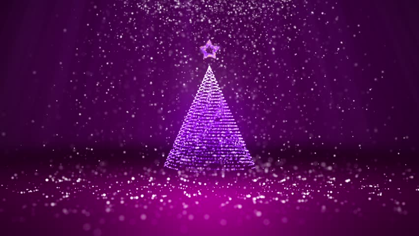 wide angle shot of winter theme for christmas or new year background with copy space - Purple Christmas Tree Lights