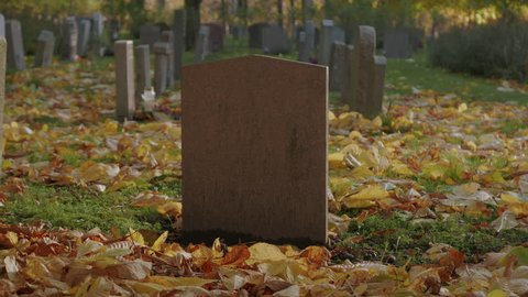 Tombstone, blank with no name or text, in a cemetery. Autumn time with yellow leaves on the ground. Reddish looking tombstone.
