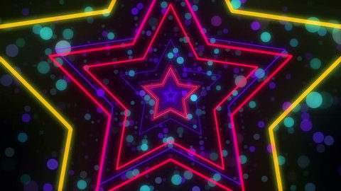 Disco star neon lights looped animation for music videos, night clubs, LED screens, fashion show, christmas and new year events