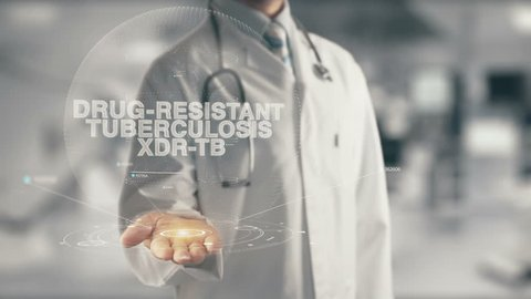 Doctor holding in hand Drug-Resistant Tuberculosis XDR-TB