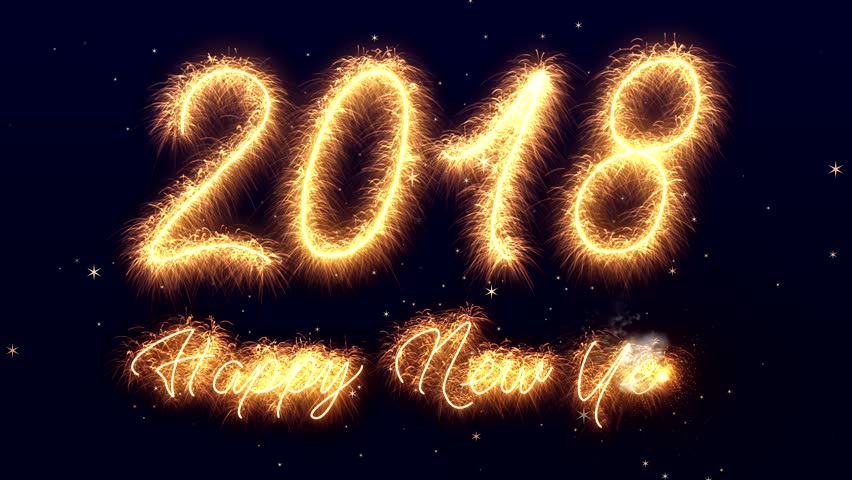 sparkler video animation of the numbers 2018 and the text happy new year