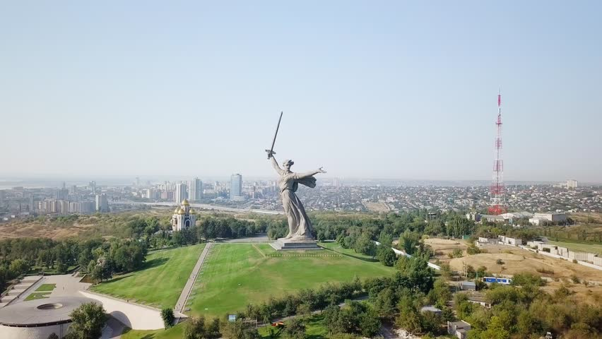 Sculpture The Motherland Calls! - compositional center of monument-ensemble to Heroes of Battle of Stalingrad on Mamayev Kurgan. Early morning. Volgograd, Russia, From Dron, Point of interest | Shutterstock HD Video #32291905