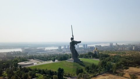 Sculpture The Motherland Calls! - compositional center of monument-ensemble to Heroes of Battle of Stalingrad on Mamayev Kurgan. Early morning. Volgograd, Russia, From Dron