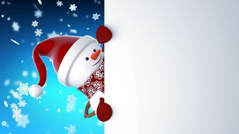 Funny Snowman in Santa Claus Cap Greeting with Hands and Smiling. Beautiful 3d Cartoon Animation Green Screen. Animated Greeting Card. Merry Christmas and Happy New Year Concept Full HD 1920x1080