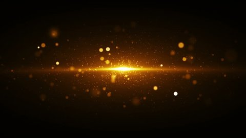 Golden lights background with particles coming from center. Seamless loop gold texture.