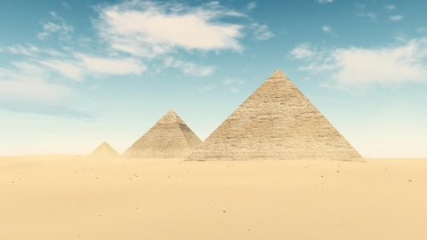 Famous egyptian landmark - complex Great Pyramids of Giza under bright blue daytime sky with time lapse clouds. Static shot realistic 3D animation rendered in 4K