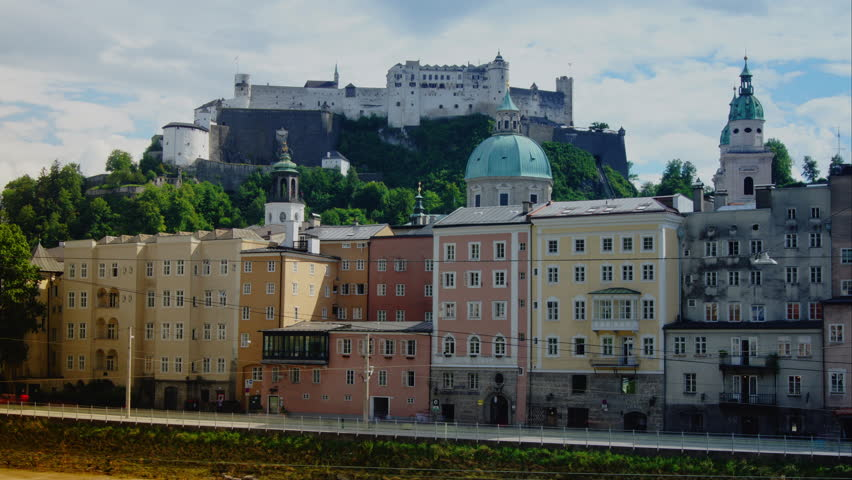 Salzburg cityscape in a summer day, time lapse,4k
