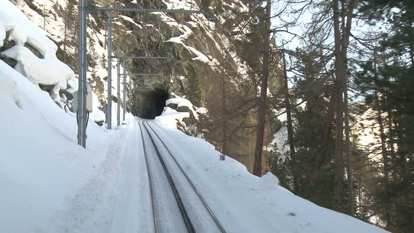 Alpine Mountain Railway Driver's View. Shot on the famous Zermatt to Gornergrat railway in Switzerland in winter in full HD 1920x1080 30p on Sony EX1