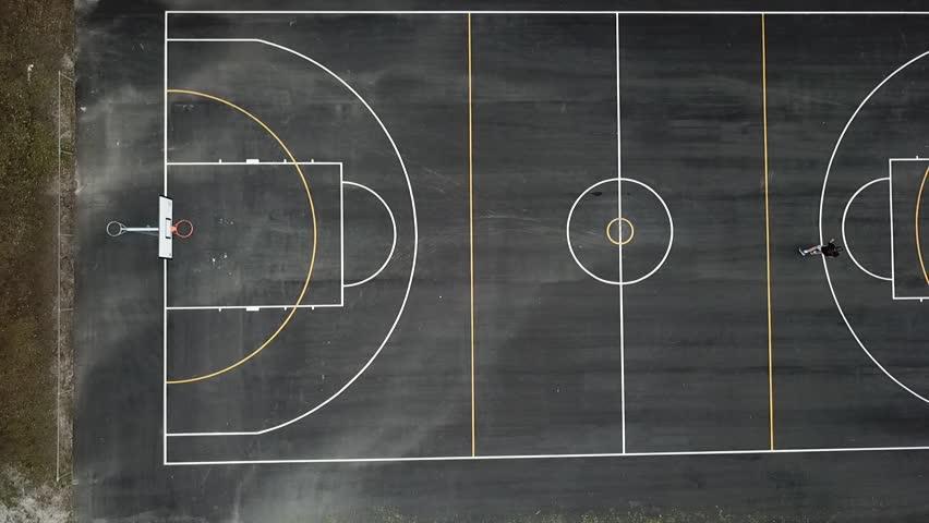 Boys Playing Basketball Birds Eye View Stock Footage Video ...