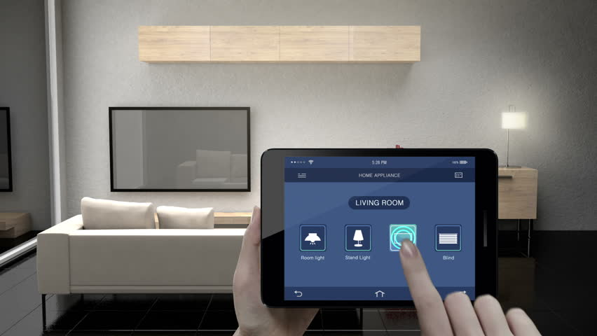 Touching IoT smart pad, tablet application, Living room TV, Light bulb, Blind energy saving efficiency control, Smart home appliances,  internet of things. | Shutterstock HD Video #32394625