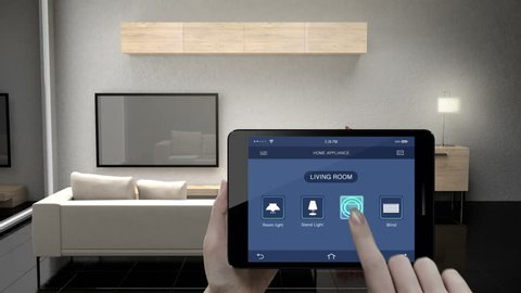 Touching IoT smart pad, tablet application, Living room TV, Light bulb, Blind energy saving efficiency control, Smart home appliances,  internet of things.