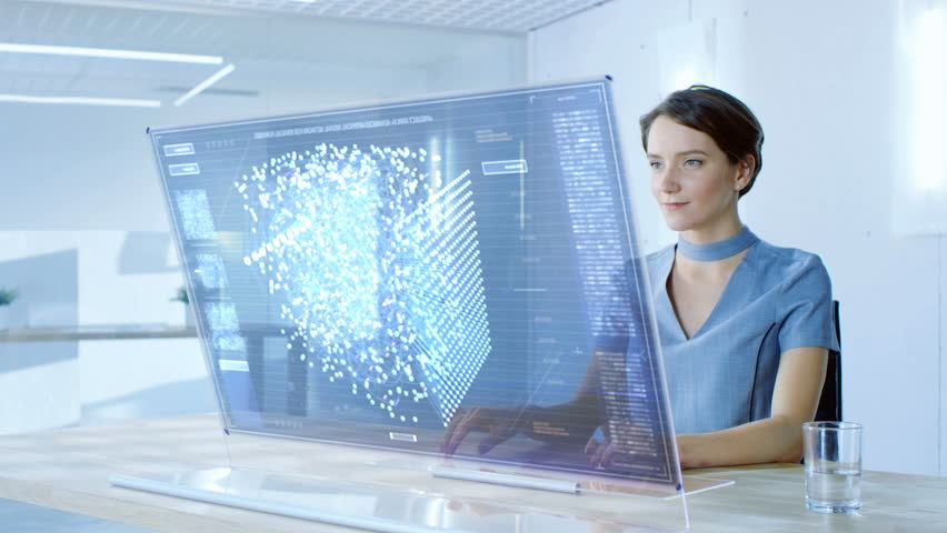 In the Near Future Stylish Woman Working on Her Computer with Transparent Display. Display Shows Graphic Projection of Neural Network, Artificial Intelligence Simulation. 4K UHD. | Shutterstock HD Video #32413105