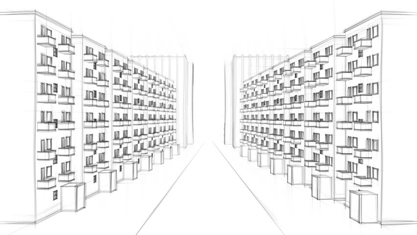 Animated line drawing of a residential street with many for Apartment building drawing