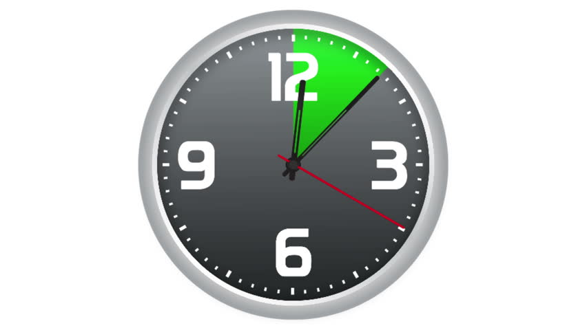 Animated Realistic Clock With Progressive Scanning In Yellow ...