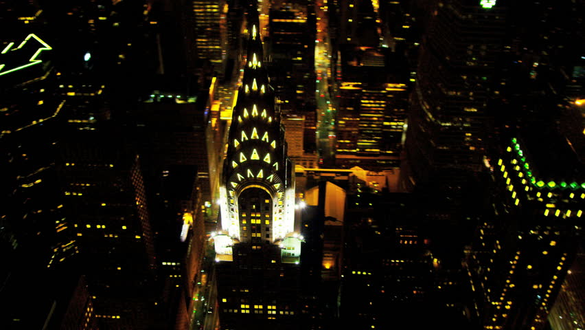 New York - August 20: Aerial illuminated Chrysler Building New York August 20, 2012,