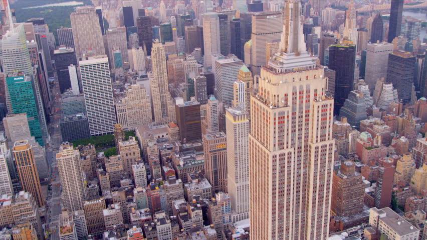 New York - August 20, 2012: Aerial view Midtown Manhattan Empire State Building New York  | Shutterstock HD Video #3244027