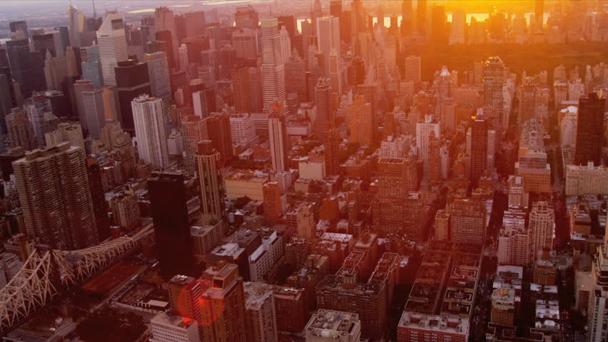 Aerial view at sunset of Central Park, Upper East and West Side Manhattan and Midtown Manhattan, New York, USA