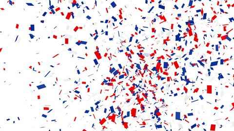 Confetti shots. Red, blue and white confetti falling on white background with alpha matte