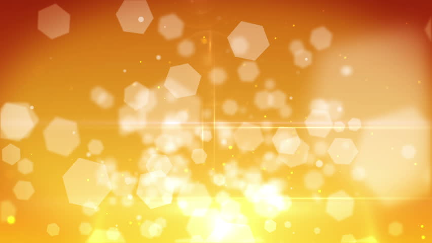High Definition abstract CGI motion backgrounds ideal for editing, led backdrops or broadcasting featuring white hexagonal orb particles moving in an orange and yellow background