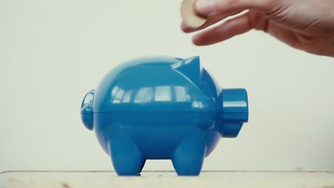 Blue piggy bank and a person adding coins.