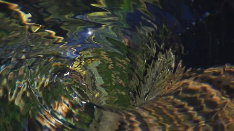 Reflections surround rippling whirlpool