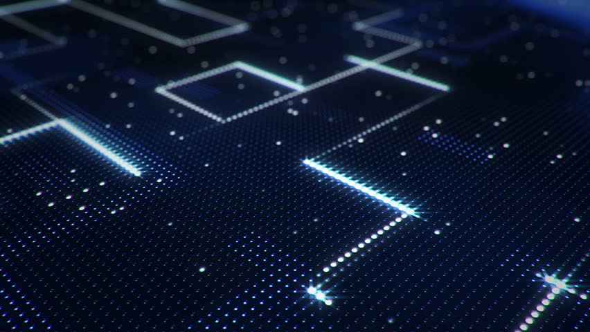 Abstract technology background of led screen with moving stripes and flickering particles. Animation of circuit electric signal with light shine. Animation of seamless loop. | Shutterstock HD Video #32508475