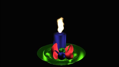 burning Advent candle on green glass plate